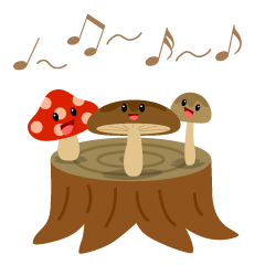 Singing Mushrooms on Stump