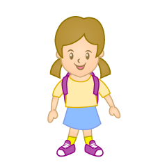 Girl with Bag Clipart