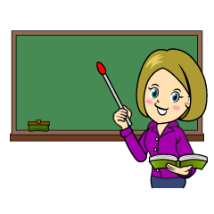 Female Teacher in Classroom Clipart