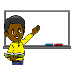 Teacher on Whiteboard Clipart