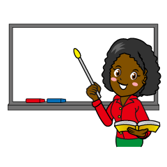 Female Teacher on Whiteboard Clipart