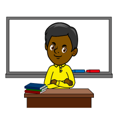 Teacher and Whiteboard Clipart