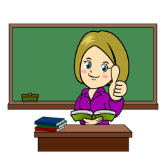 Teacher Thumbs up in Classroom Clipart