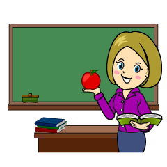 Teacher with Apple Clipart