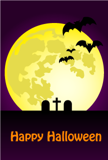 Moon and Bats Happy Halloween Card