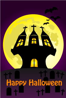 Moon and Castle Happy Halloween Card