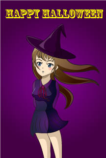 Anime Girl Witch Halloween Card