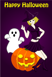 Anime Witch and Ghost Halloween Card