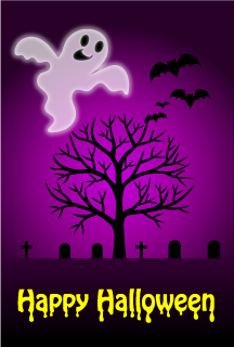 Ghost and Graveyard Halloween Card