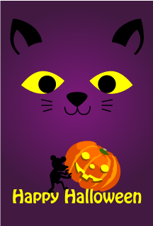 Cat and Mouse Halloween Card