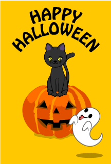 Black Cat and Ghost Halloween Card