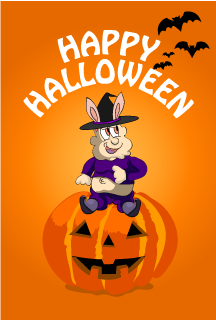 Rabbit Character Halloween Card