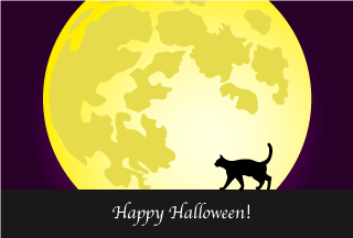 Moon and Cat Happy Halloween Card