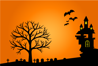 Castle and Graveyard Silhouette Halloween