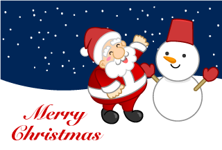 Snowman and Santa Christmas Card
