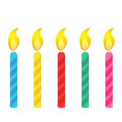 5 Colorful Candles Clipart