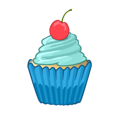 Cute Cherry Blue Cupcake