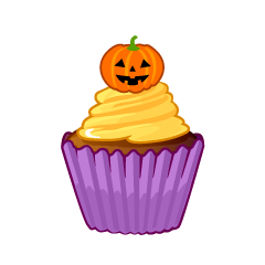 Cute Halloween Cupcake Clipart