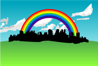City Rainbow Background