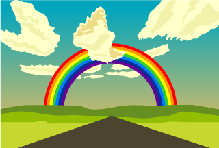 Road and Rainbow Background