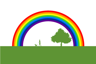 Walking Dog and Rainbow Background