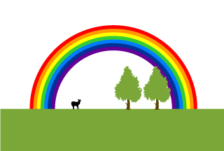 Cow and Rainbow Background
