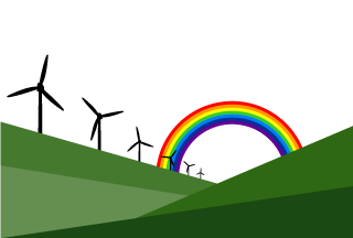 Windmill and Rainbow Background