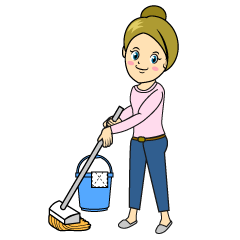 Mopping Woman Clipart