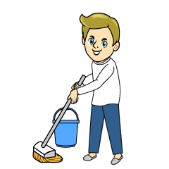 Mopping Man Clipart