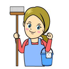 Woman Cleaning Clipart