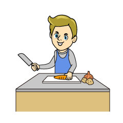 Man Cutting Vegetables Clipart