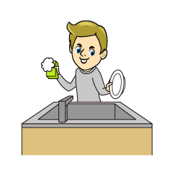 Men Washing Dishes Clipart