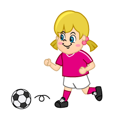 Girls Soccer Player Dribbling