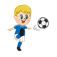 Boy Soccer Player with Blue Jersey to Shoot