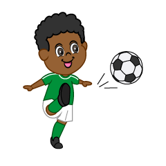 Boy Soccer Player with Green Jersey to Shoot