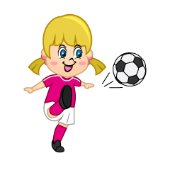 Girl Soccer Player with Pink to Shoot
