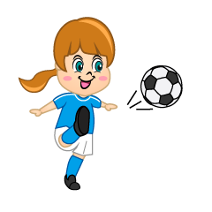Girl Soccer Player with Blue Jersey to Shoot