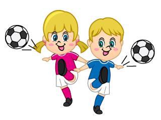 Boy and Girl Kicking Soccer Ball