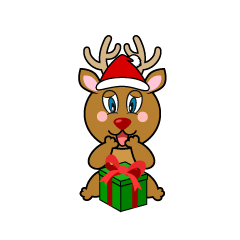 Reindeer with Present Cartoon