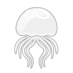 Swimming White Jellyfish Clipart
