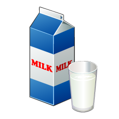 Milk Pack and Glass Clipart