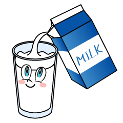 Milk into Glass Cartoon