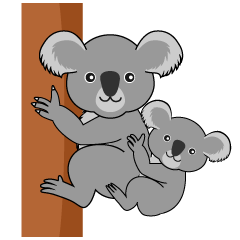 Koala Parent and Child Clipart