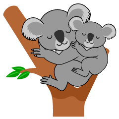 Sleeping Koala Parent and Child Clipart