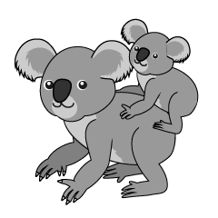 Walking Koala Parent and Child Clipart