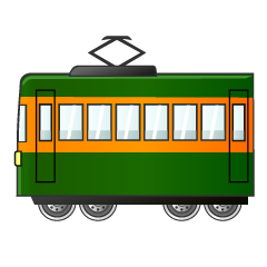 Green and Orange Train Clipart