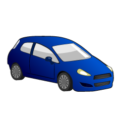 Blue Compact Car Clipart