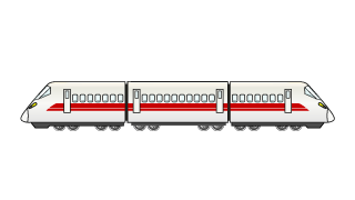 Express Train 3-Car Clipart