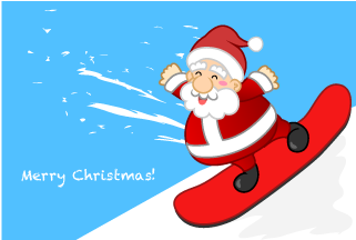 Santa Claus to enjoy snowboarding Christmas Card