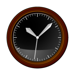 Black Wooden Clock Clipart
